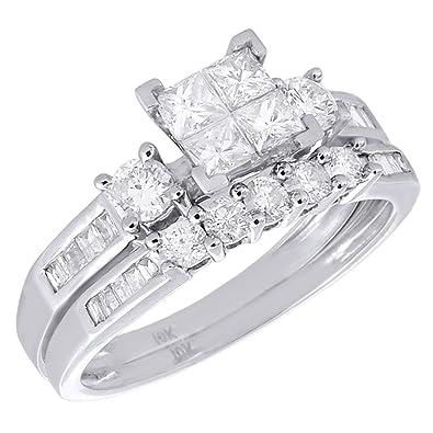 10k white gold diamond bridal princess baguette round cut wedding ring set 1 cttw - White Gold Wedding Ring Sets