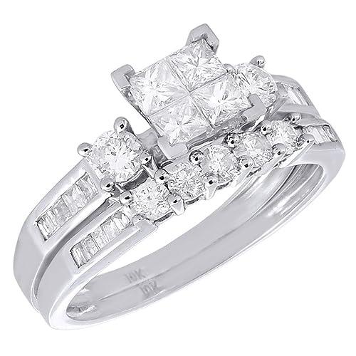 Oro blanco de 10 K diamantes Princess Baguette redondas Juego de ...