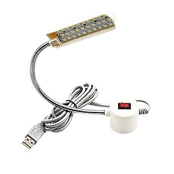 Lustaled 30 LEDs Luz LED USB Flexiblecon el Interruptor para Iluminación de Máquina de Coser, Iluminación de Reparación (2W, 5V, 180 Lúmenes, ...