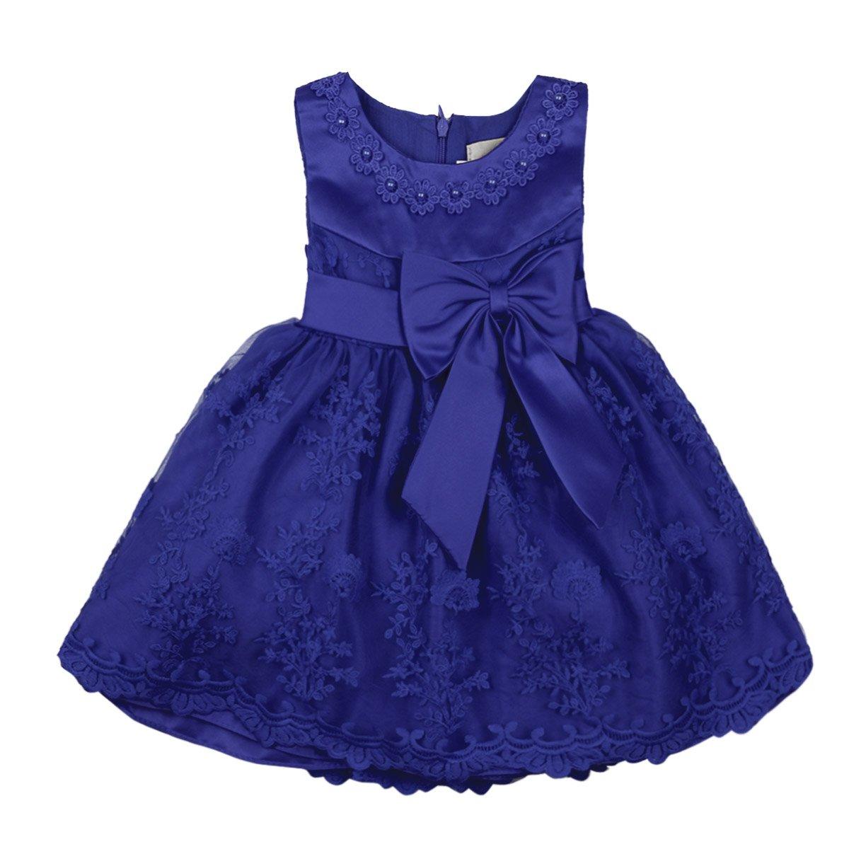 inlzdz B/éb/é Fille Robe de Princesse Robe de C/ér/émonie Bowknot Broderie Florale Robe Bapt/ême D/éguisement Costume Robe Mariage Soir/ée F/ête Anniversaire Enfant B/éb/é 6-24 Mois