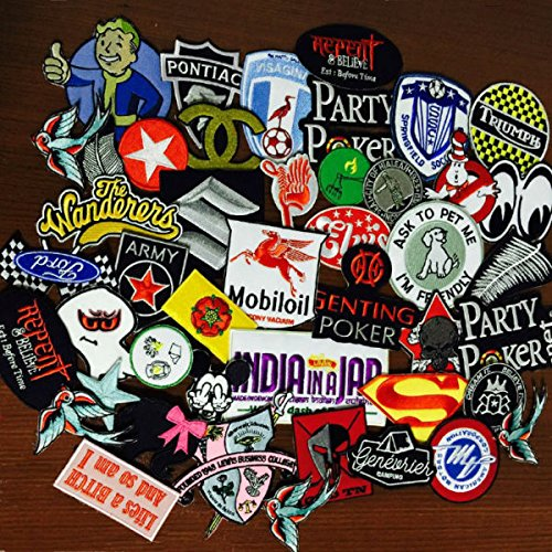 FairyMotion 2016Year New Arrival Mixed 24 Pcs Popular Embroidered Patches Iron On Cartoon Motif Dk Applique Embroidery Accessory Perfect (Tombstone Funny Quotes)