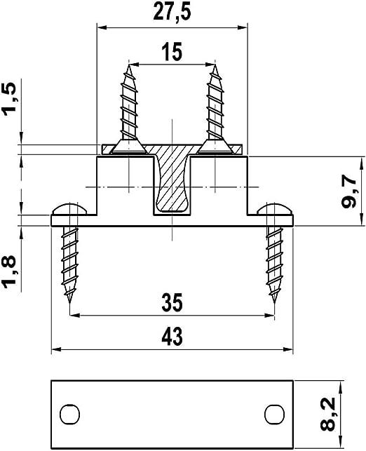 2er Pack Doppelkugelschn/äpper Schn/äpper aus Messing verchromt L/änge 50mm