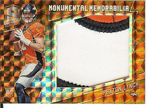 Football NFL 2016 Spectra Monumental Memorabilia Neon Orange #28 Paxton Lynch MEM 3/3 Broncos by spectra