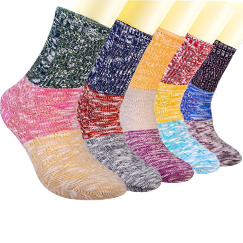 3-5 Pairs Women's Colorful Winter Warm Socks Soft Crew Boot Sock Gift Idea US5-9