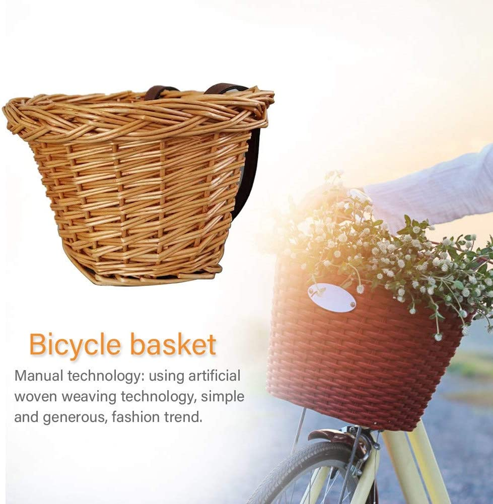 Monland Retro,Handmade,Wicker Bicycle Front Basket With Leather Straps,Fashion ChildrenS Bicycle Front Basket