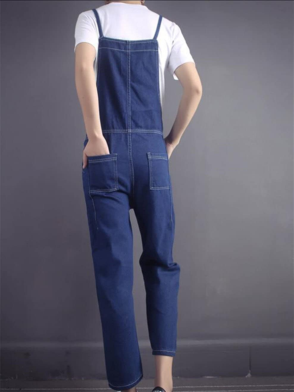 heymoneyWomen heymoney Womens High Waist Jean Cami Splice Lace-up Loose Pockets Bib