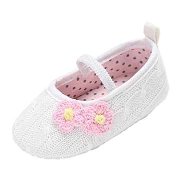 f117d9c5658a1 Amazon.com : for 0-18 Months Baby, Crochet Baby Girls Shoes Cotton Toddler Infant  Newborn Baby Shoes Princess Shoes (0-6 months, White) : Baby