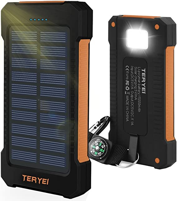 Solar Phone Charger 15000mah Teryei Solar Usb Charger Waterproof Solar Power Bank With Panel External Dual Usb Backpack With Compass For Android Iphone Ipad Samsung Cellphones Chill Orange Amazon Ca Cell Phones