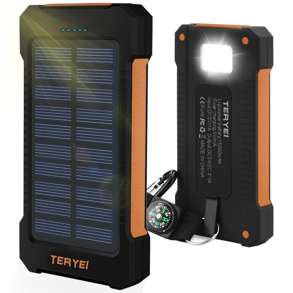 Solar Charger 15000mAh,Teryei Portable Solar Power Bank High Efficiency Solar Phone Charger with Solar Panel, Dual USB Cell Phone Battery Charger for iPhone,Samsung and Emergency Out (Orange)
