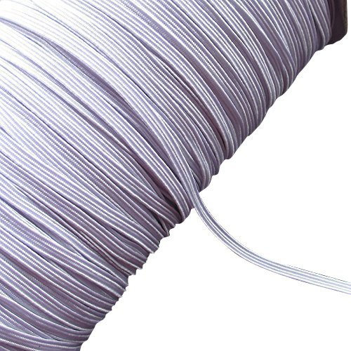 Chenkou Craft U Pick Black or White Braided Elastic Ribbon Elastics Band 3mm,6mm,10mm Size 50yards (3mm, white)