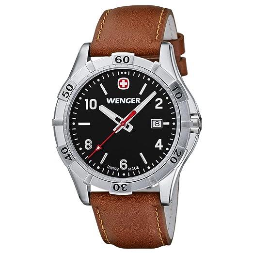 Wenger 0941,103 43 mm de acero inoxidable caja de acero de color marrón de cuero de los hombres de la fábrica de relojes: Amazon.es: Relojes