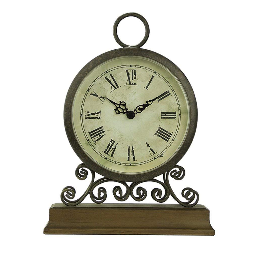 デスククロックファミリークロックヨーロピアンスタイルの時計レトロ刻々と装飾的な寝室のベッドサイドテーブルクロックの装飾リビングルームの寝室のオフィスに適して B07TFCQPXM