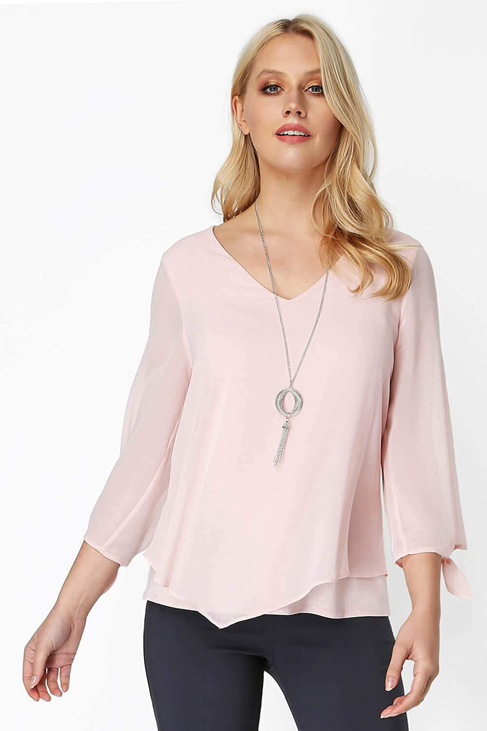 Roman Originals Women V-Neck Chiffon Top with Necklace Ladies Overlay Tops for Going Out Smart Evening Dinner Date Cocktails Elegant Sparkly Necklaces Party Smart Blouses