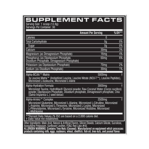 Cellucor Alpha Amino Acids Supplements with BCAA Powder, Watermelon, 13.54 Ounce (30 Servings)