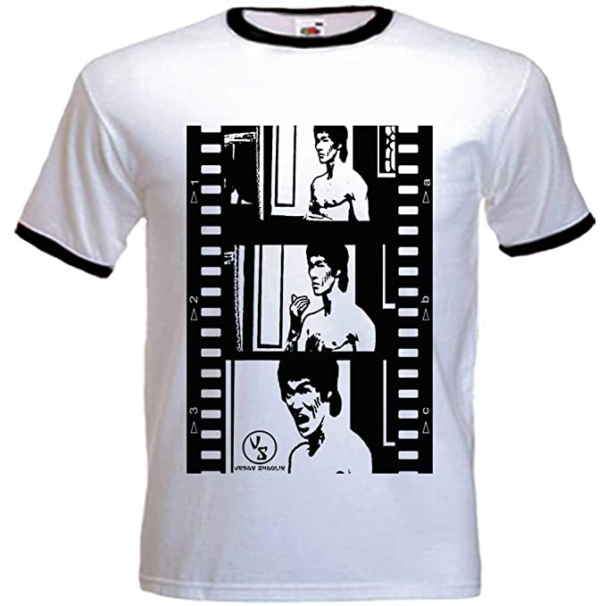 Los hombres rabia de Shaolin urbanas del dragón Inspirado Camiseta, Xtra Large, Blanco Con