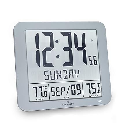 Amazon Com Marathon Slim Atomic Wall Clock With Indoor Outdoor