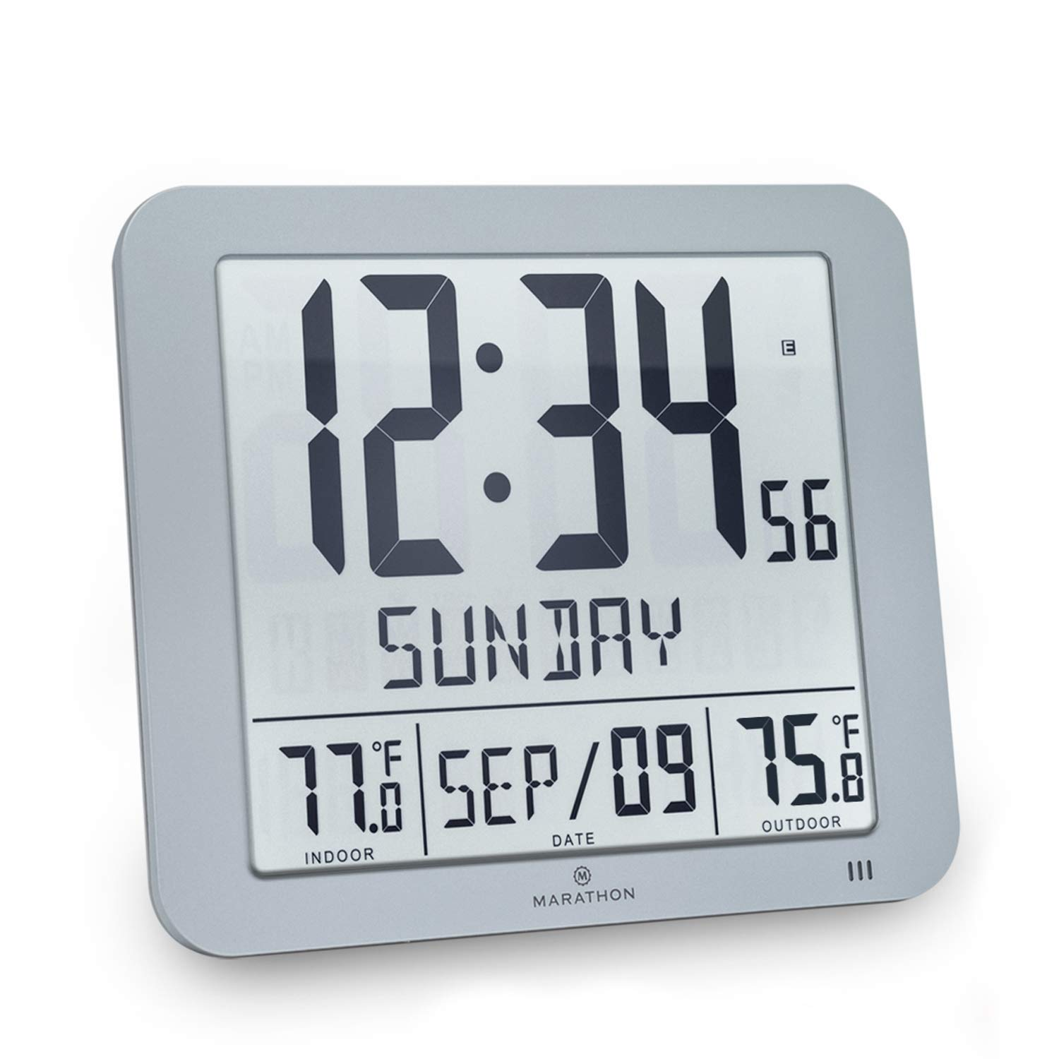 Marathon CL030027-FD-GG Slim Atomic Wall Clock with Indoor/Outdoor Temperature, Full Calendar and Large Display (New Full Display, Graphite Grey) product image