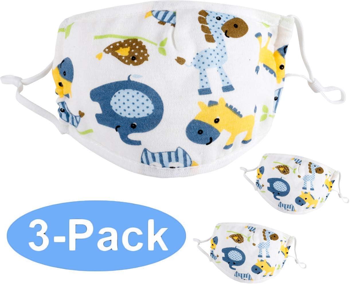 DEMU 3pcs Set Baumwolle Cartoon Druck f/ür Kinder Halstuch Atmungsaktive Staubdichte Schutz Biene L