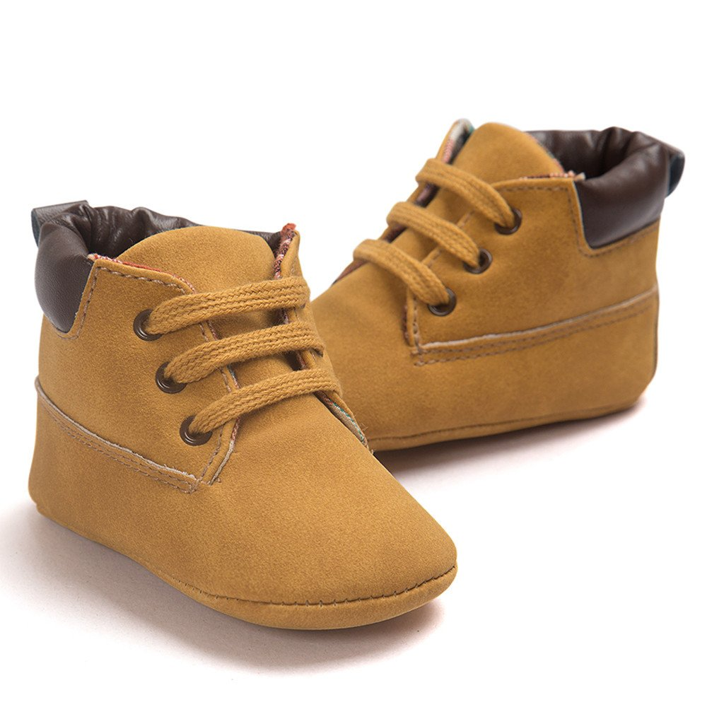 bc6aa1fe3517 Amazon.com  Toddler Baby Boy s Boots Baby Lace up Snow Leather Sneaker Soft  Flat Ankle Shoes (0-6 Months