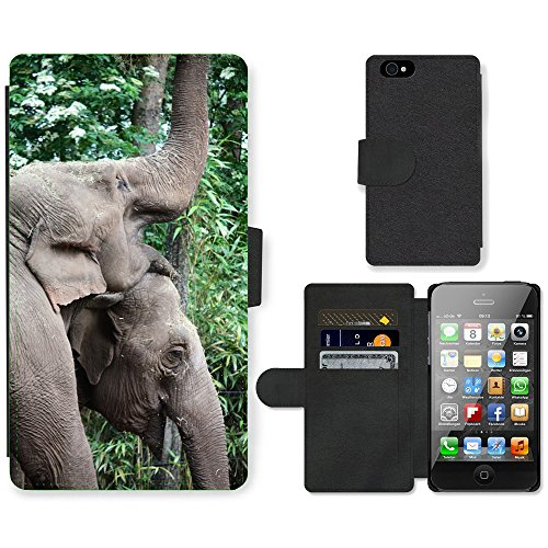 Just Phone Cases PU Leather Flip Custodia Protettiva Case Cover per // M00127722 Elephant Pachyderme Zoo animaux Grand // Apple iPhone 4 4S 4G