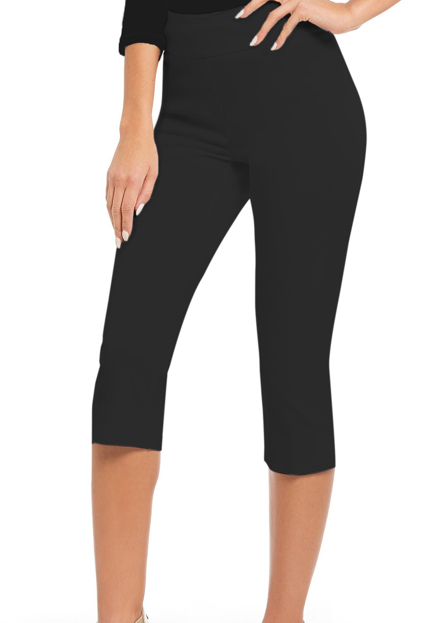 HyBrid & Company Women Stretch Pull On Business Millennium Capri Pants KQ44972 Black M