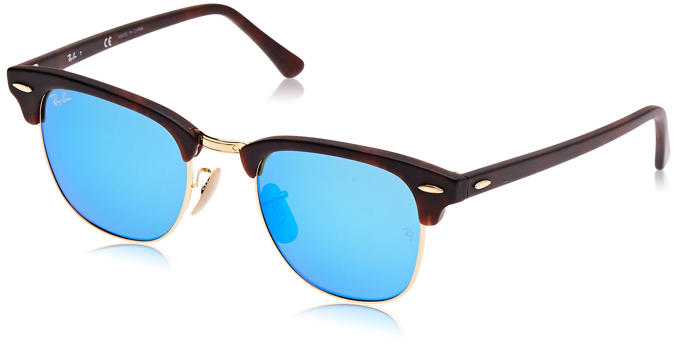 RAY-BAN RB3016 Clubmaster Square Sunglasses, Tortoise & Gold/Blue Flash, 49 mm by RAY-BAN
