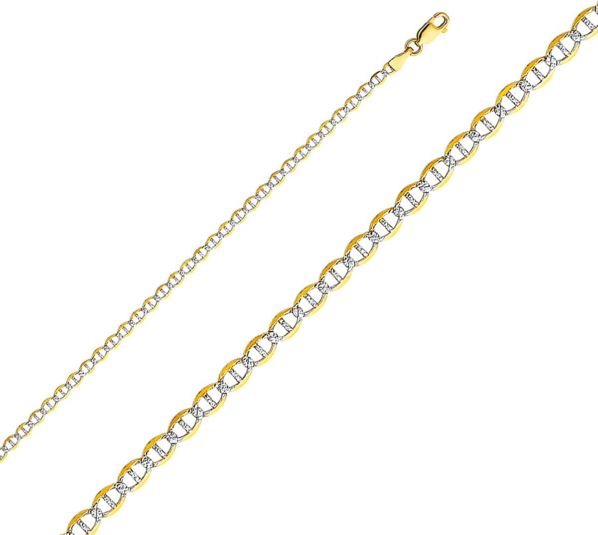 TGDJ 14k Yellow Gold Solid 3.4mm Flat Mariner Chain Necklace with Lobster Claw Clasp