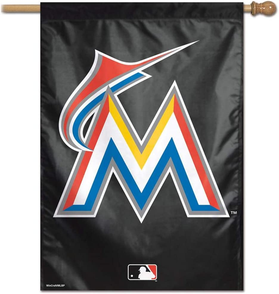Team Colors One Size WinCraft MLB Miami Marlins 28x40 Vertical Banner