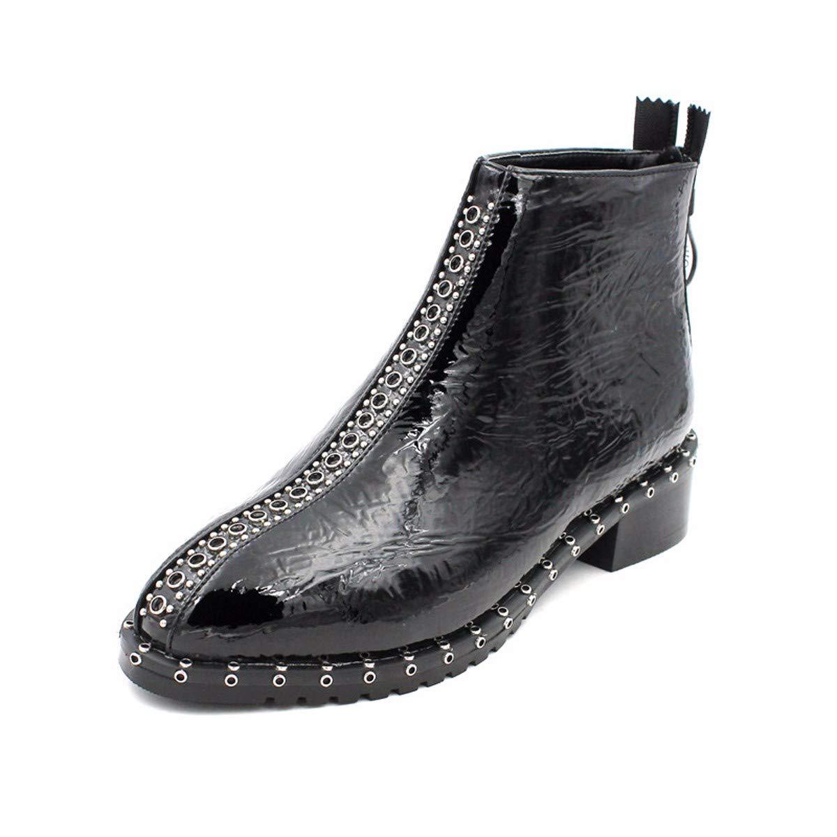 LBTSQ Fashion Damenschuhe Straße Foto - Lokomotiv - Stiefel Heel 3Cm Lack Nieten Reißverschluss Runden Kopf Nahen Ferse Schwarze Stiefel