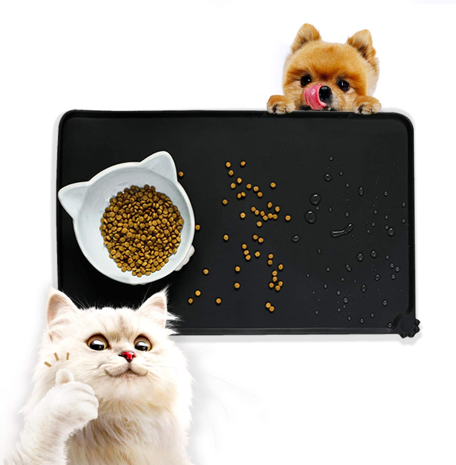 SunteeLong Silicone Dog Cat Food Mat for Floor Pet Waterproof Feeding Bowl Mats Non-Stick Food Pad Non-Slip Anti-Spill Easy Clean Washable Dog Placemat for Food and Water