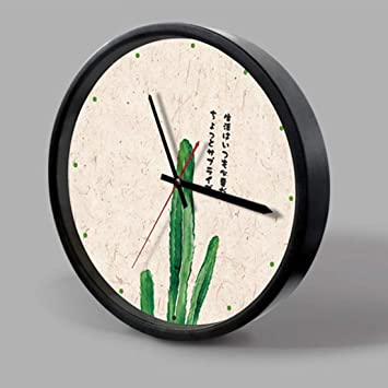 Hermosa e individualizada Hermosa e individualizada 12 pulgadas Home Office Room Marco de metal decorativo Cactus Imprimir Mute Sin tictac Reloj de cuarzo ...