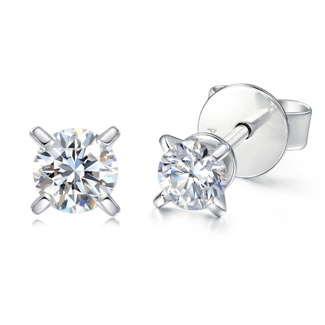 Carleen Solid 14k White Gold Eco-friendly Lab-grown Diamonds 02cttw Stunning Solitaire Stud Earrings for Women( Color D-E Clarity VS