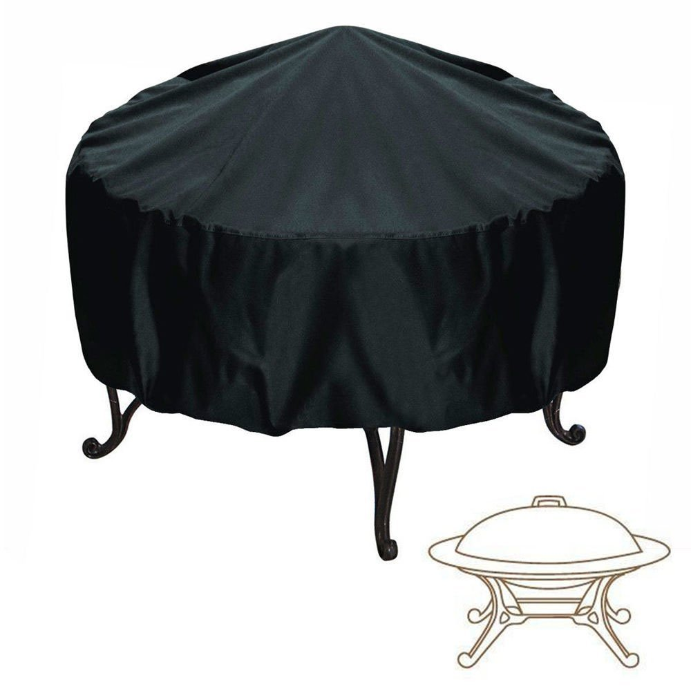 Maxineer Fire Pit Cover Round Waterproof Protective Garden Patio Outdoor Cover with Drawstring - Black