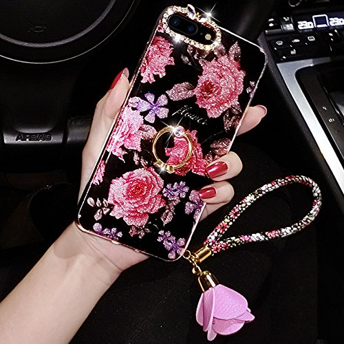 iPhone 8 Plus Case,iPhone 7 Plus Glitter Case,ikasus Bling Rhinestone Diamond Glitter Sparkle Ring Kickstand Roses Pendant Soft Silicone TPU Bumper Protective Cover Case for iPhone 8 Plus / 7 Plus, #1