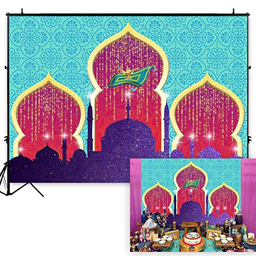 Funnytree 7x5ft Magic Genie Theme Party Backdrop Arabian Nights Lamp Golden Glitter Photography Background Moroccan Princess Girl Baby Shower Birthday Cake Table Decoration Photo Booth Banner -