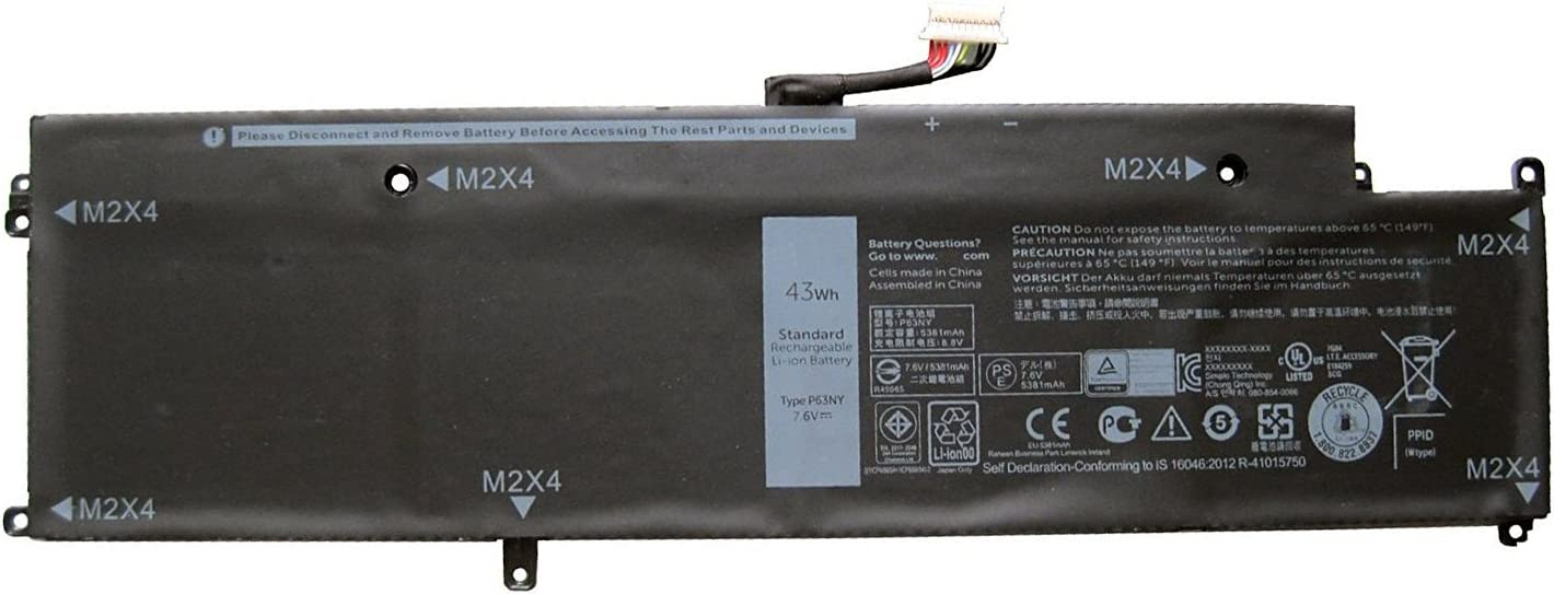 GreenTech New P63NY Replacement Battery for Dell Latitude 13 7370 7.6V 43Whr 4-Cell Primary Battery 0N3KPR N3KPR 4H34M