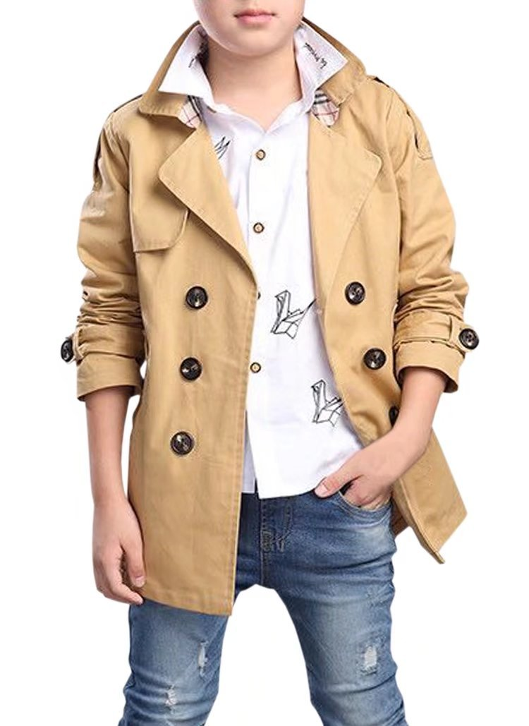 Kid's Classic Double Breasted Trench Coat Jacket Windbreaker Outerwear with Belt for Little Boys & Big Boys, Khaki 10-11 Years=Tag 170