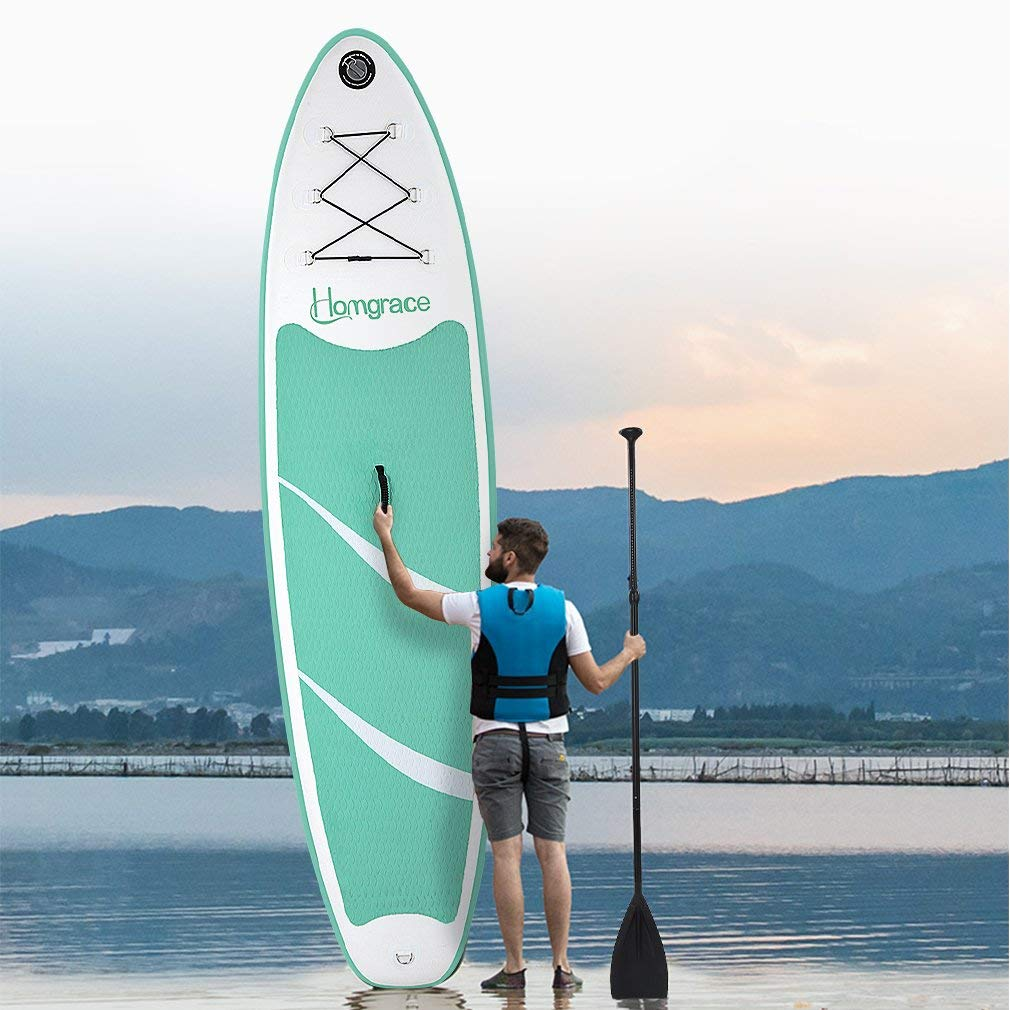 Amazon.com : Homgrace Inflatable SUP/Kayak Surfboards Stand up Paddle Board with Carrying Storage Bag Manual Pump Kit Removable Fin All Skill Levels (Mint ...