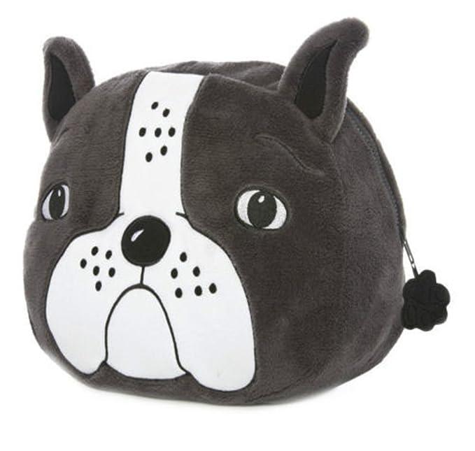 Bulldog francés perro Bolsa para pijama forro polar gris y blanco