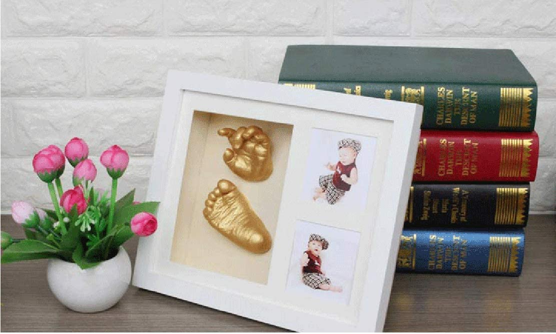 Photo Frame Personalised Baby Shower Gifts with Wall Mount and Gift Box Hoverex New Baby Handprint and Footprint Kit Newborn Baby Gifts for