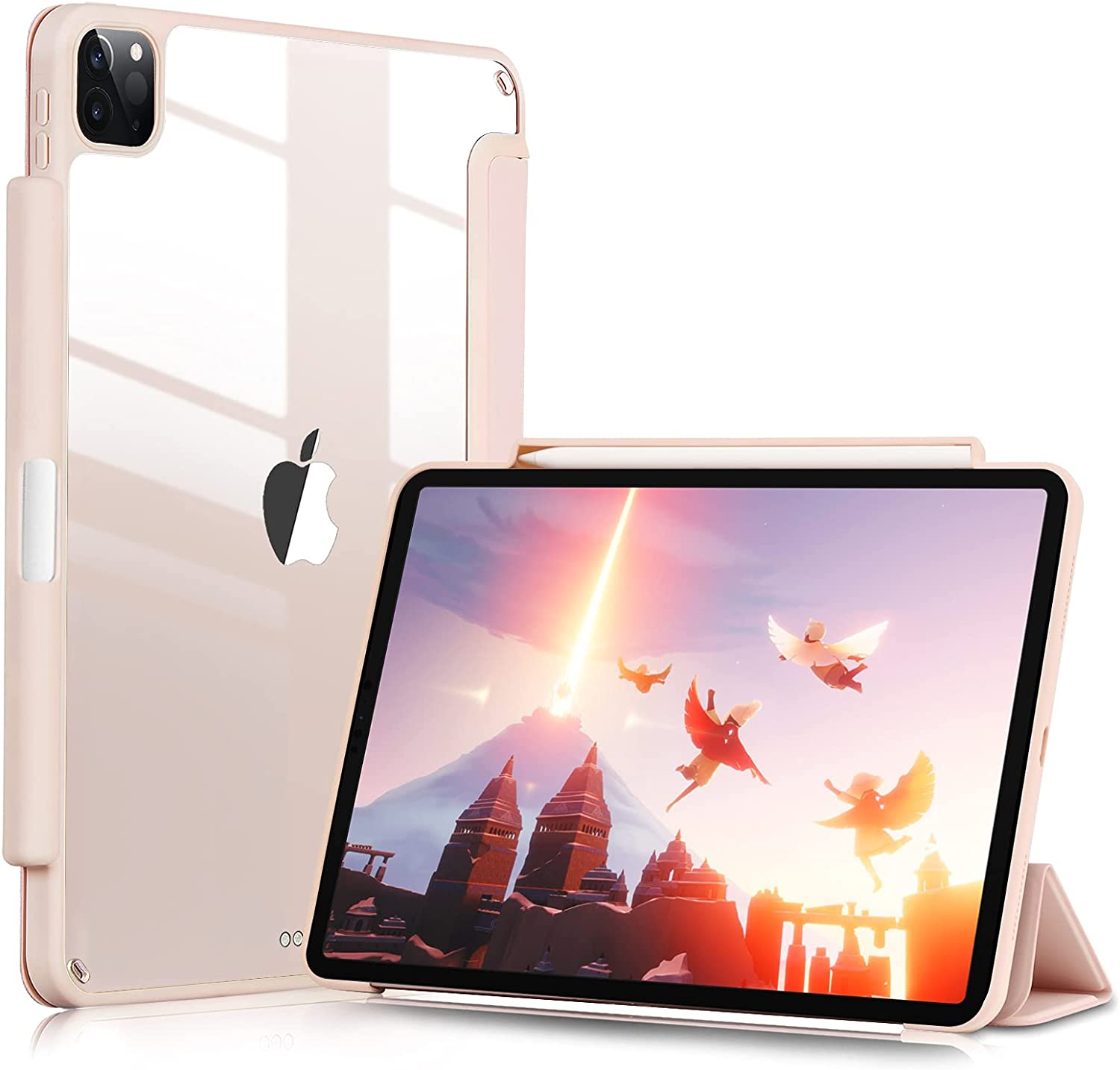 GHINL Case for iPad Pro 11 Inch 2nd Generation 2020 with Pencil Holder [Support iPad 2nd Pencil Charging & Pair] Acrylic Slim Transparent Back Cover Smart Trifold Stand Protective Cover (Pink)