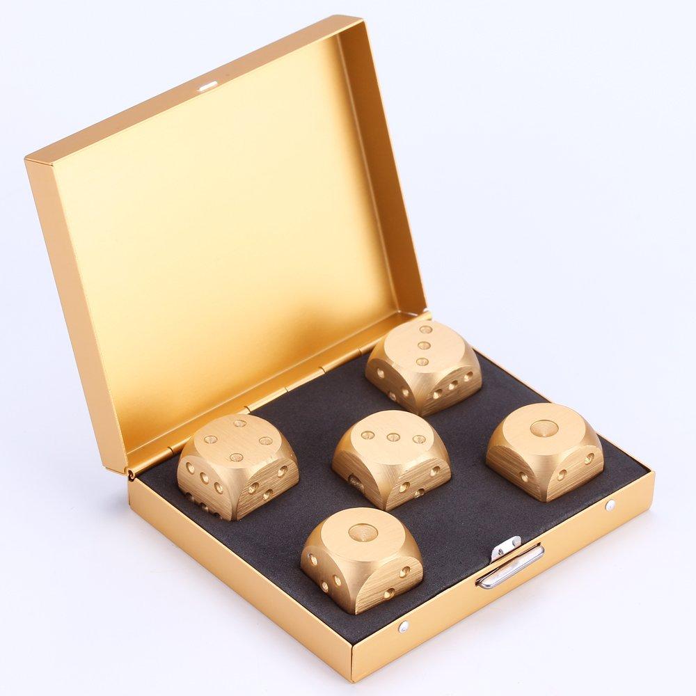 lzwin würfel sammlung 5pcs präzision aluminiumlegierung goldene farbe peststoffphase würfel von LZWIN TECH LZW16010502