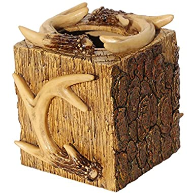Rustic Deer Antler & Tree Bark Square Tissue Box Cover