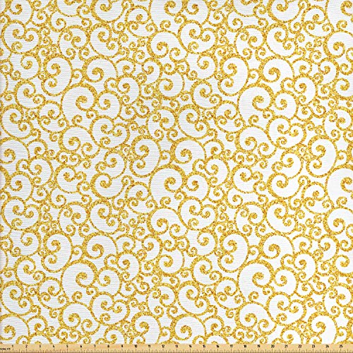 Ambesonne Victorian Fabric by The Yard, Floral Ivy Swirls in Golden Yellow Shade Antique Motif Inspired Art Print, Decorative Fabric for Upholstery and Home Accents, 1 Yard, Yellow White (Victorian Fabric)