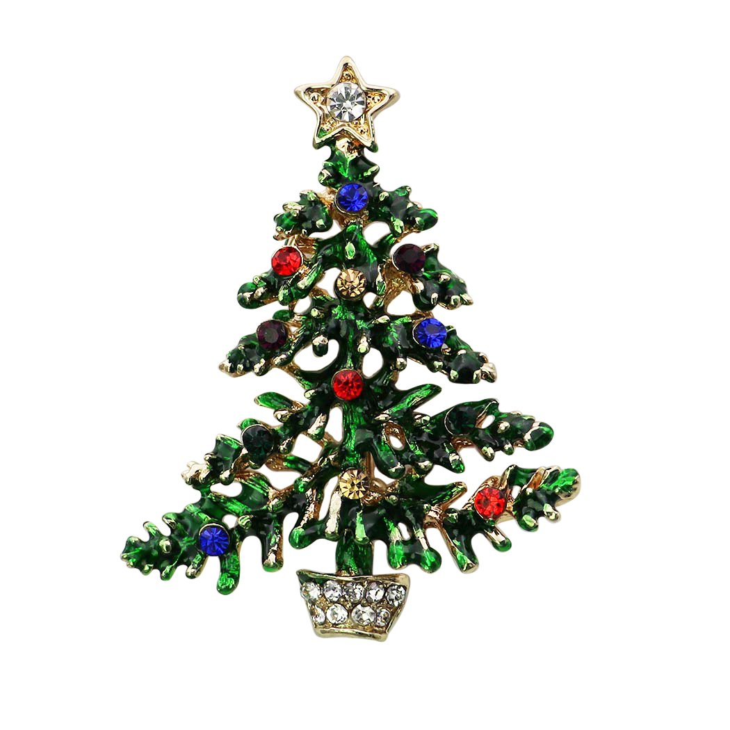 Rosemarie Collections Women's Rhinestone Accent Christmas Tree Brooch Pin
