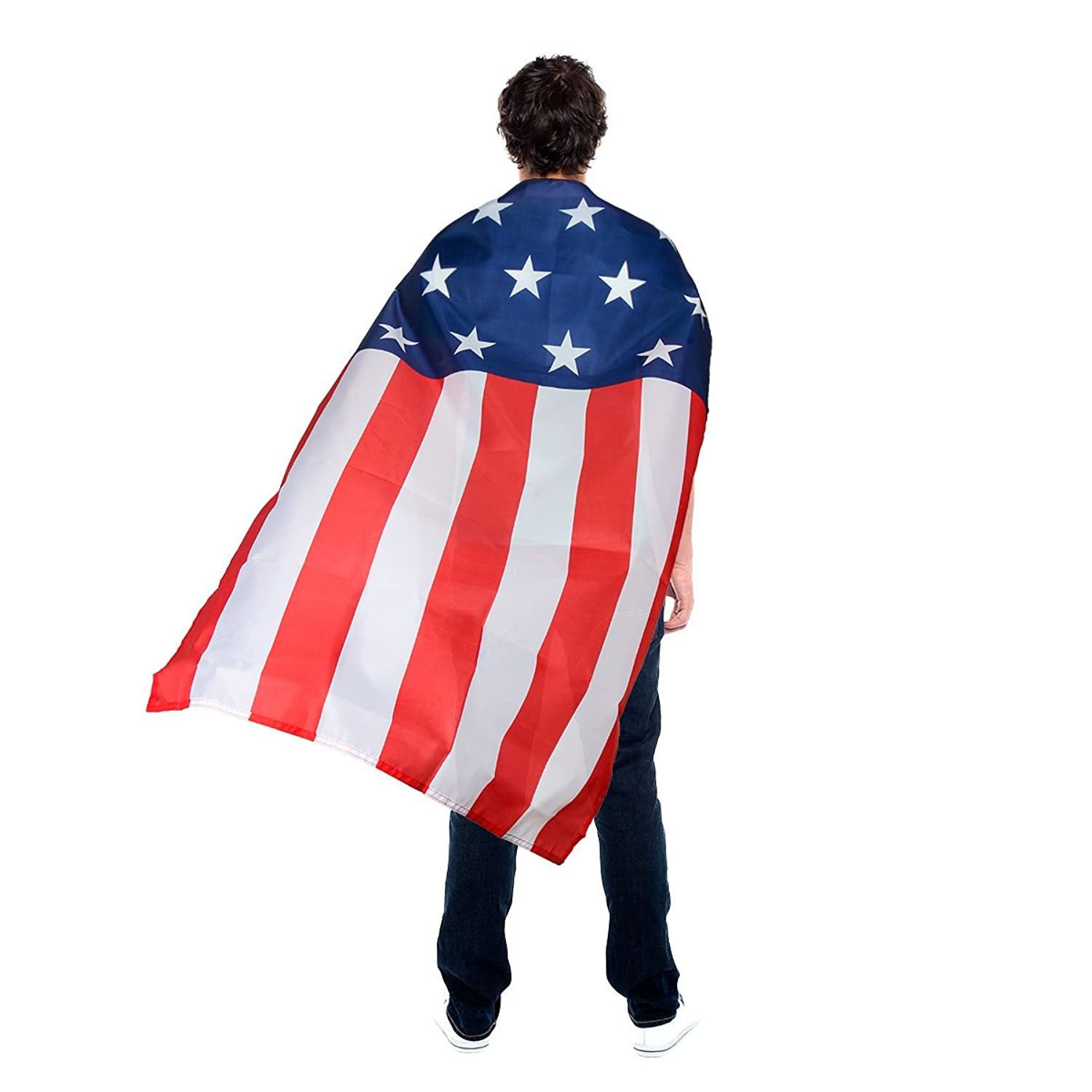 481ccba80 Secure Velcro Clasp, 100% Polyester US American Flag Cape Costume Unique Red,  White, and Blue Star and Stripe Flag pattern with 13 Stars and 9 Stripes