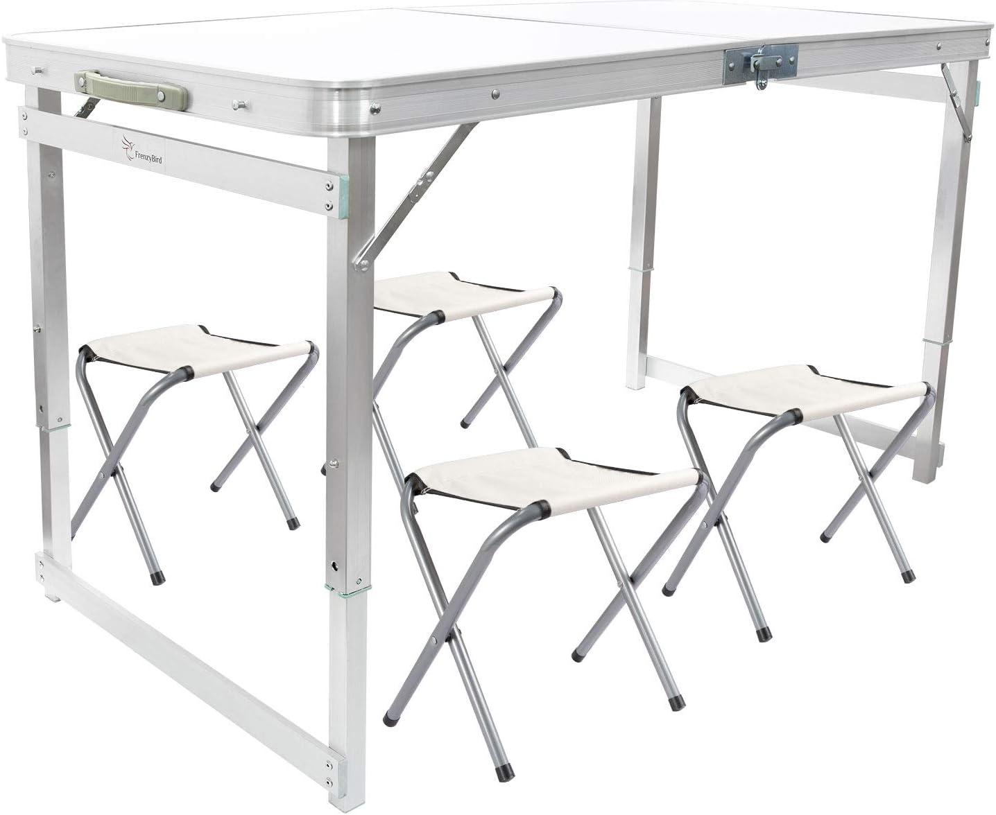 FrenzyBird Mesa de picnic plegable con 4 taburetes, mesa de aluminio Oxford Mat silla Set para hasta 4 personas, portátil ligero y altura ajustable ...