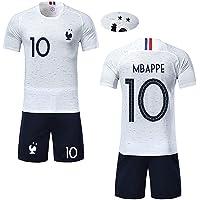 Angel ZYJ T-Shirt Garçon Maillot de Football France 2 étoiles et Short Coupe du Monde 2018