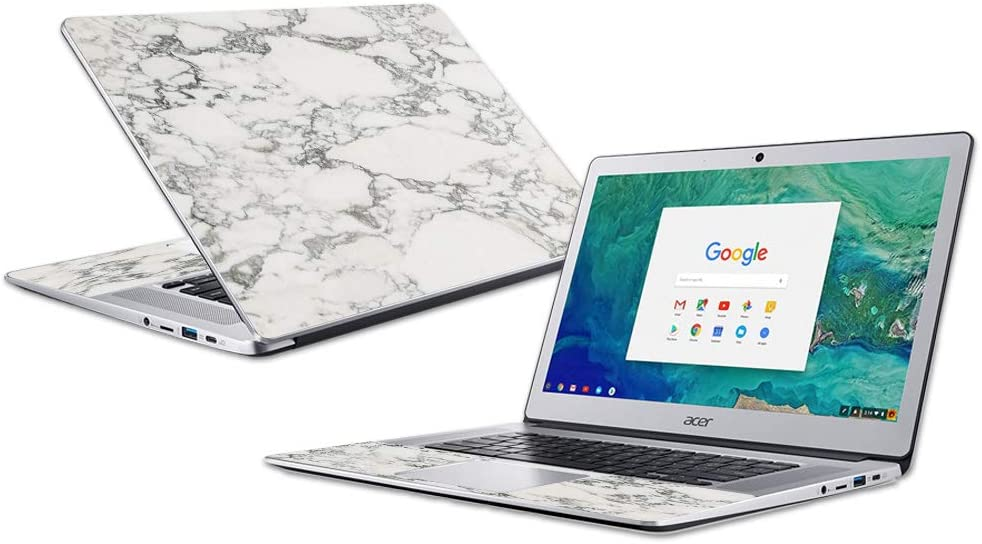 "Mightyskins Skin Compatible with Acer Chromebook 15"" (2018) - White Marble 