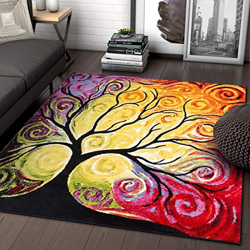 Fairytale Multi Yellow Orange Red Nature Modern Abstract Painting Brush Stroke Area Rug 5 x 7 ( 5'3